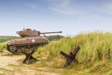Tank in Normandy with beach hazards